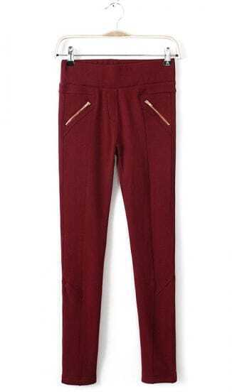 Red Low Waist Zipper Pockets Pencil Pant