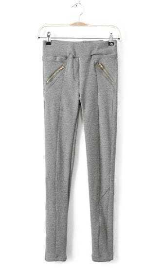 Light Grey Low Waist Zipper Pockets Pencil Pant