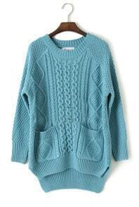 Blue Long Sleeve Asymmetrical Cable Knit Sweater