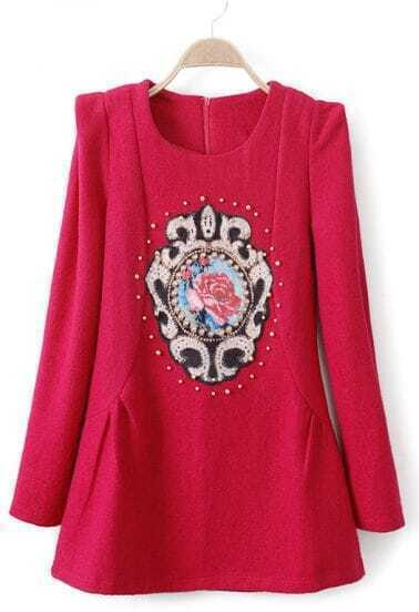 Rose Red Puff Sleeve Beading Appliques Dress