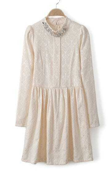 Beige Stand Collar Rhinestone Embroidery Dress