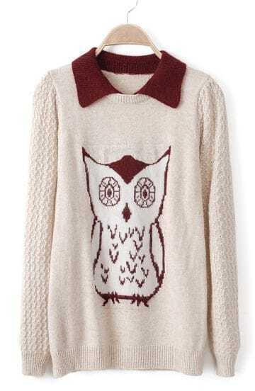 Beige Lapel Long Sleeve Owl Pattern Sweater