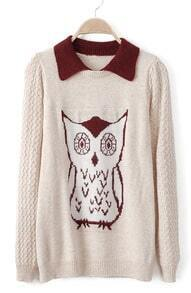 Beige Lapel Long Sleeve Owl Pattern Sweater