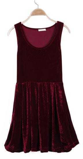 Wine Red Sleeveless Pleated Corduroy Tank Dress
