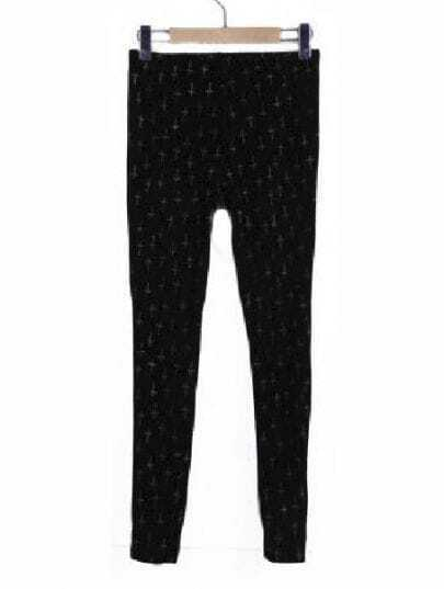 Black Metallic Yoke Cross Embroidery Leggings