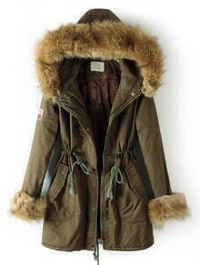 Dark Green Fur Hooded Drawstring Zipper Pockets Coat