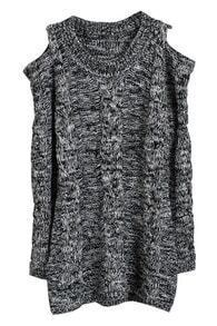 Grey Off the Shoulder Long Sleeve Loose Sweater