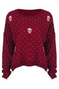 Red Long Sleeve Polka Dot Skull Print Sweater