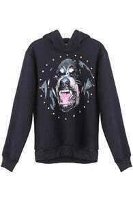 Black Hooded Long Sleeve Dog Print Sweatshirt