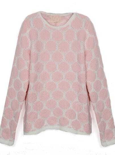 Pink Polka Dot with White Trims Batwing Sleeve Sweater