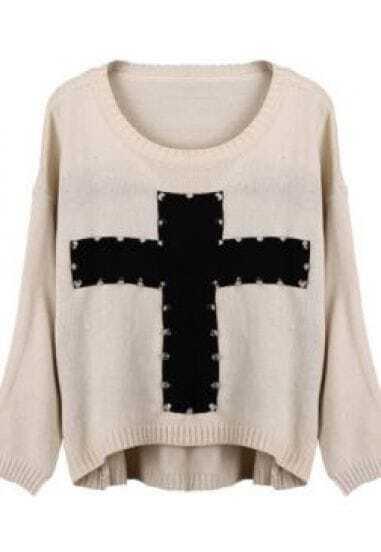 Apricot Rivet Embellished Cross Pattern Dip Hem Sweater