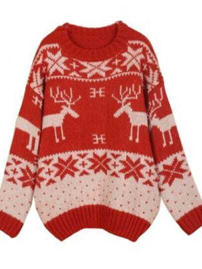 Red Batwing Long Sleeve Deer Embroidery Sweater