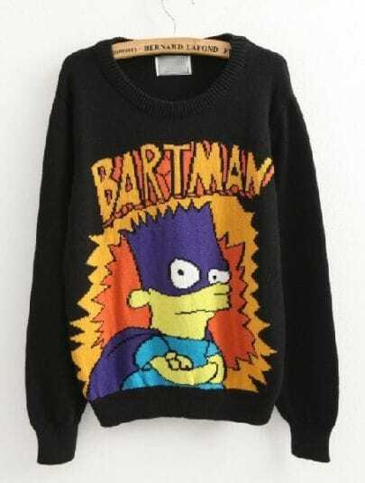 Black BARTMAN Simpson Cartoon Pattern Sweater