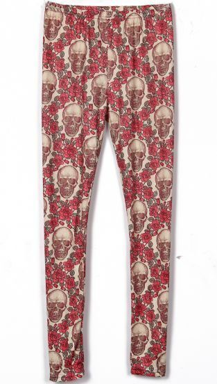 Apricot Skull and Rose Print Legging