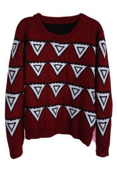 Red Long Sleeve Triangle Pattern Sweater
