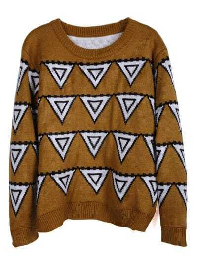 Yellow Long Sleeve Triangle Pattern Sweater