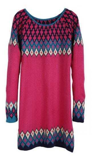 Red Long Sleeve Diamond Patterned Pullover Sweater