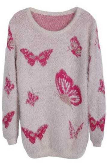 Pink Long Sleeve Butterfly Pattern Sweater