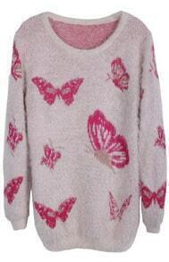 Pink Long Sleeve Butterfly Pattern Sweater