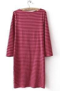 Black Pink Striped Long Sleeve Sweater Dress