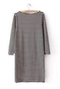 Black White Striped Long Sleeve Sweater Dress