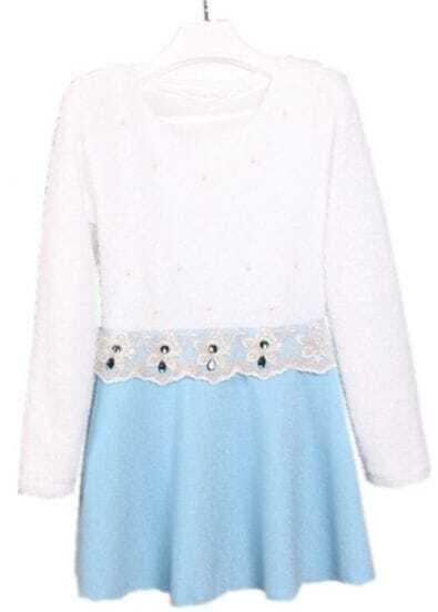 White Blue Long Sleeve Lace Ruffles Rhinestone Dress