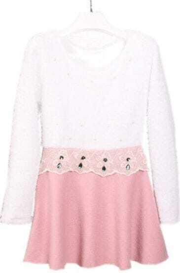 White Pink Long Sleeve Lace Ruffles Rhinestone Dress