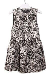 Black White Rose Embroidery Rhinestone Dress