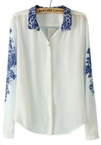 White and Blue Porcelain Print Chiffon Blouse