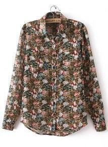 Brown Lapel Long Sleeve Floral Buttons Blouse