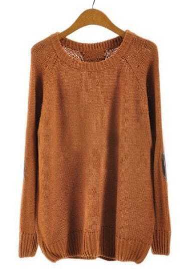 Brown Long Sleeve Elbow Patch Loose Sweater