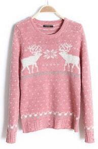 Pink Long Sleeve Fair Isle Deer Pattern Sweater
