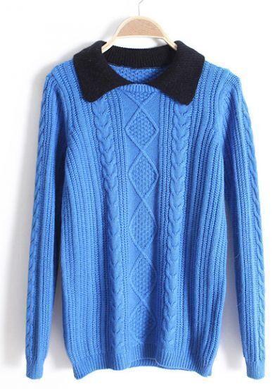Blue Contrast Lapel Long Sleeve Diamond Patterned Sweater
