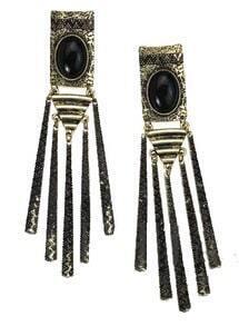 Black Gemstone Gold Stick Tassel Stud Earrings