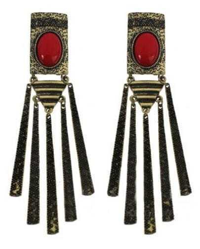 Red Gemstone Gold Stick Tassel Stud Earrings
