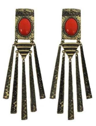 Orange Gemstone Gold Stick Tassel Stud Earrings