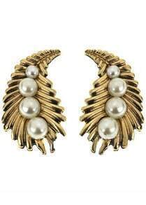 White Pearls Gold Stud Earrings