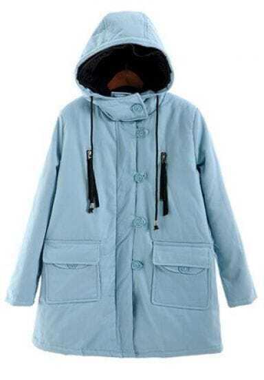 Light Blue Hooded Zipper Embellished Buttons Coat