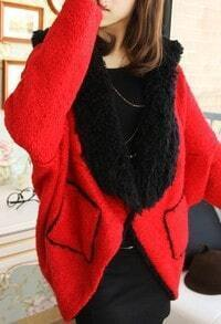 Red Cape Batwing Long Sleeve Pockets Coat