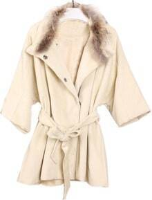 Apricot Fur Lapel Drawstring Waist Bow Coat
