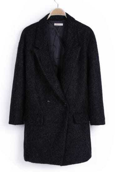 Black Notch Lapel Buttons Pockets Coat
