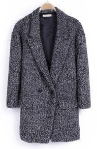 Light Grey Notch Lapel Buttons Pockets Coat