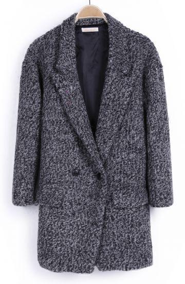 Light Grey Notch Lapel Buttons Pockets Coat