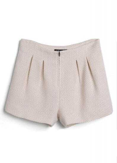 Apricot Zipper Pleated Straight Shorts