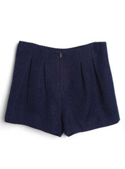 Blue Zipper Pleated Straight Shorts