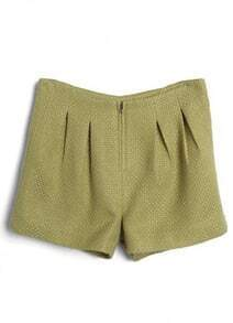 Green Zipper Pleated Straight Shorts