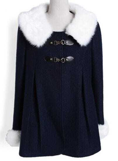 Navy Fur Lapel Long Sleeve Pleated Coat