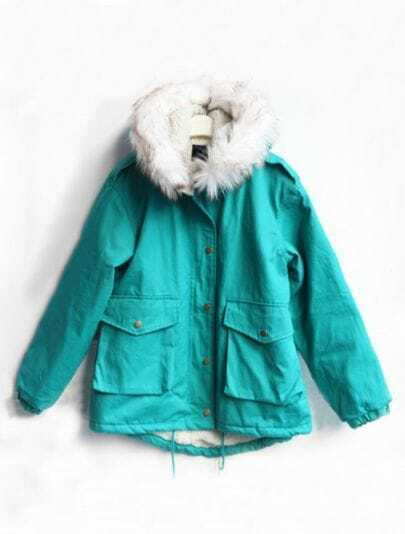 Turquoise Fur Hooded Drawstring Pockets Coat