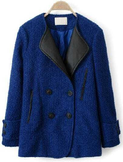 Blue Contrast Leather Lapel Pockets Loose Coat