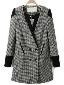 Black White Houndstooth Contrast Shoulder Buttons Coat